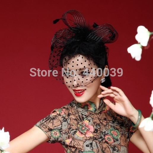 MOON BUNNY FW12 Beautiful Black/White/Red/Pink/Purple Birdcage Bridal Flower Feathers Fascinator Bride Wedding Hats Face Veils W