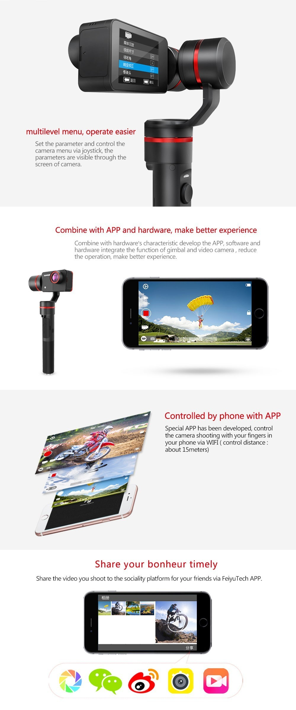 2016 new fy summon video camera like dji osmo camera stabilizers
