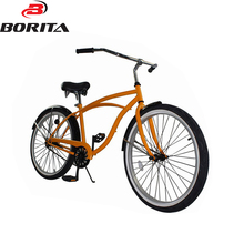 2016 China Wholesale 26 Cheaper Single Speed Yellow Aluminum Comfortable Chopper Beach Cruiser Bicycle