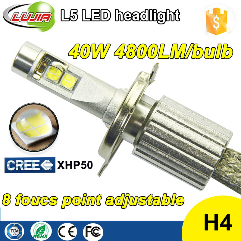 Crees XHP50 Super Bright High Power All in One Fanless 40W 4800lm H4 car led headlight bulb HB4 9003 motorcycle light led bulbs