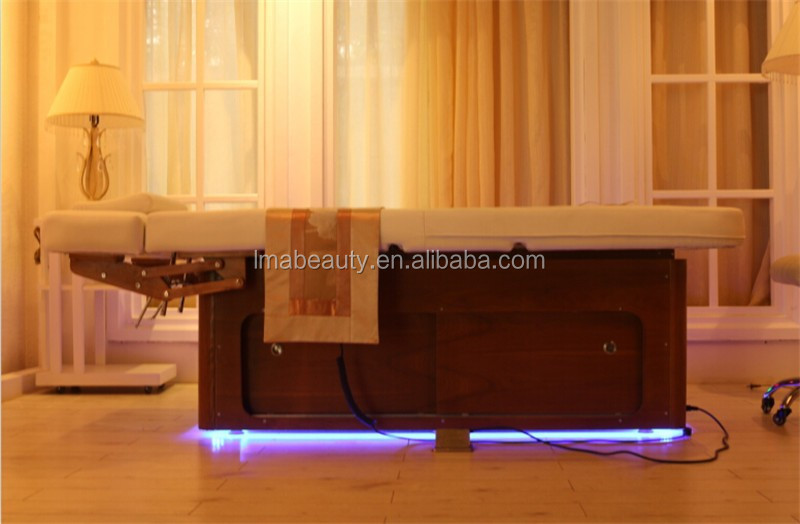 2015 luxury adjustable cosmetic massage table electric heated tatoo bed with storage