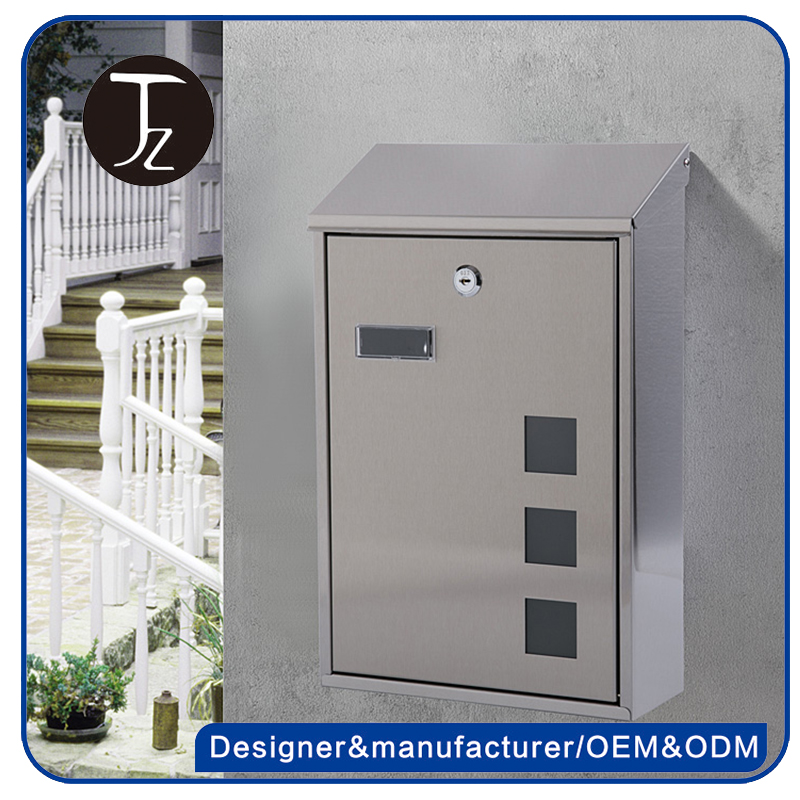 Casting Craftsman.Waterproof Wall Mounted Stainless Steel Outdoor Garden American Mailbox