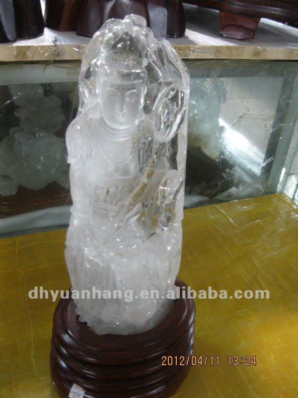 Natural White Crystal Carved Buddha,Quartz Crystal Buddha