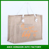 Manufacture promotional cheap logo shopping bags foldable jute bag