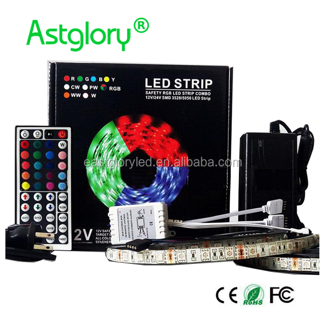 No Waterproof LED Light Strip 12V 5050 <strong>RGB</strong> flexible 30leds/m 44keys Controller 10M light strip each set with box package