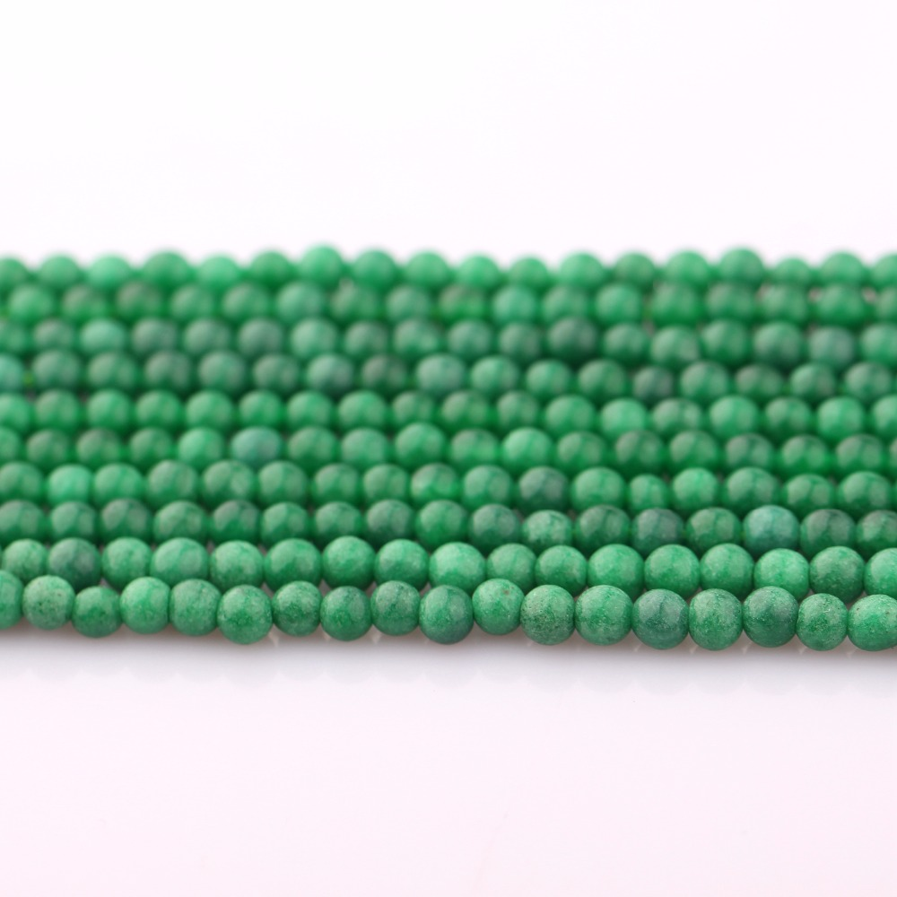 HSQ hot sale the smooth natural round emerald jade beads jewelry