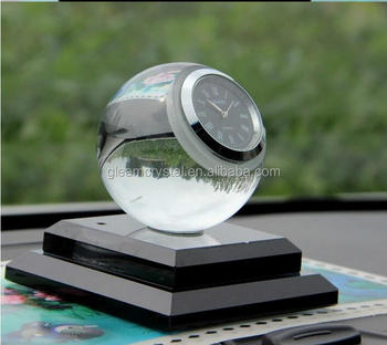 Unique Big screen Crystal Glass Table Clock for gifts, car clock for decoration