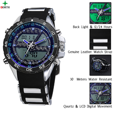 North japan movt quartz watch stainless steel back,sport led silicone watch