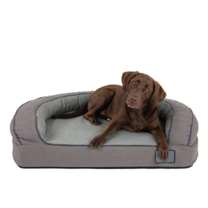 Luxury Bolster Memory Foam Dog Bed with Durable Canvas Cover, Extra Plush Fleece + Foam Bolsters by Better World Pets