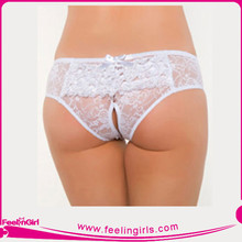 Woman Transparant White Sexy Lace G-string
