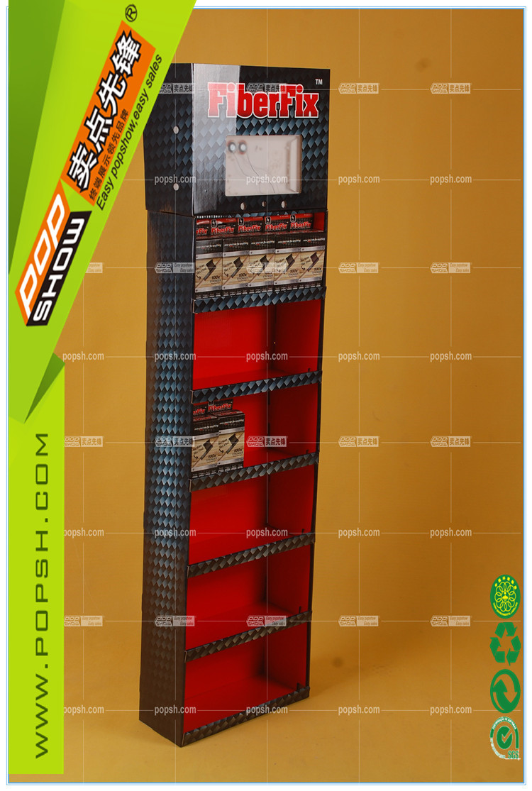 Supermarket shelves wall hanging cardboard display with video screen