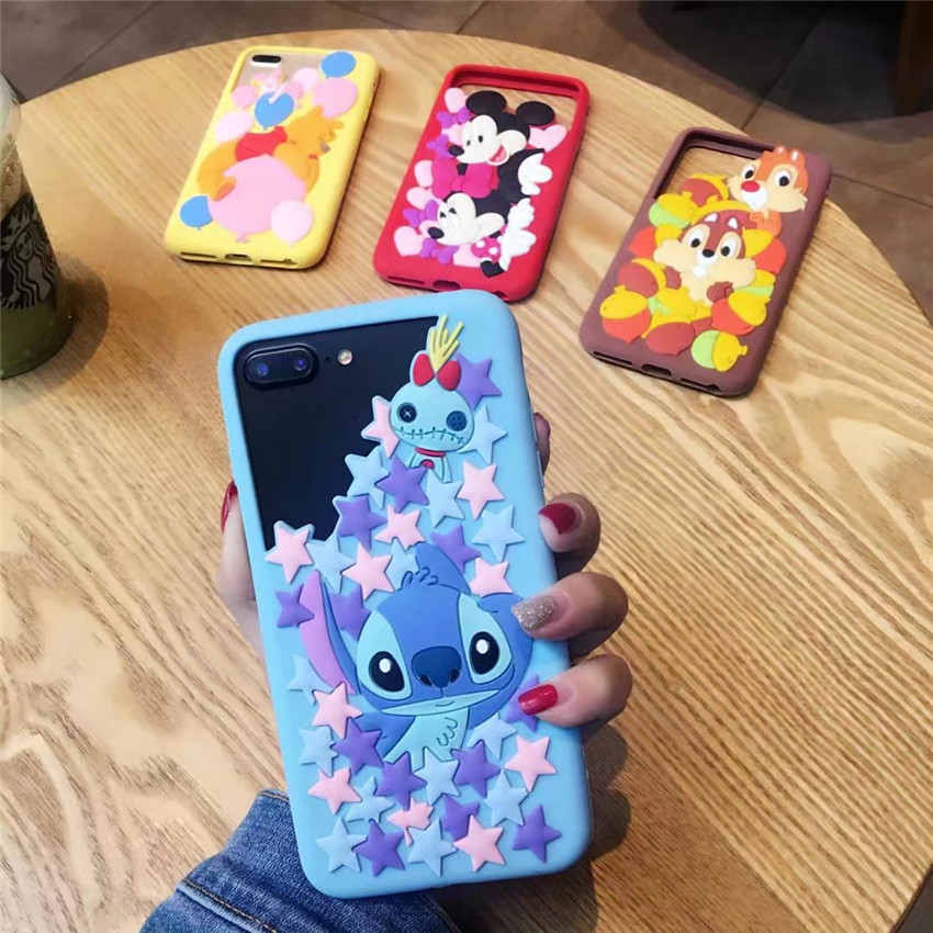 Brand New Cartoon Case Mickey Minnie Stitch Bear Cute Capa Rubber Soft Silicone Phone Bumper Case For iPhone 7 7Plus 6 6S 6Plus