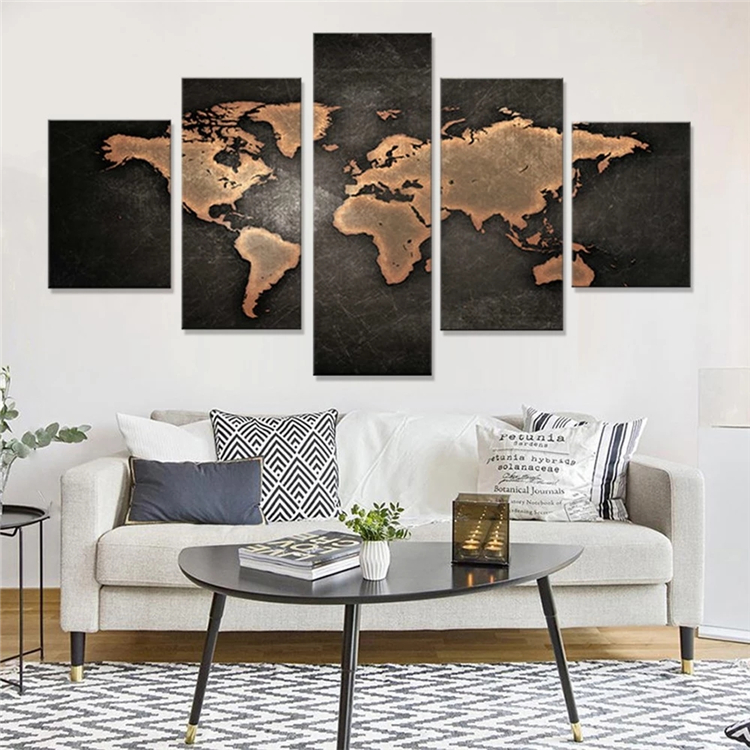 5 Panel Printed Modern World Map Oil Painting Art Canvas Wall <strong>Decor</strong>