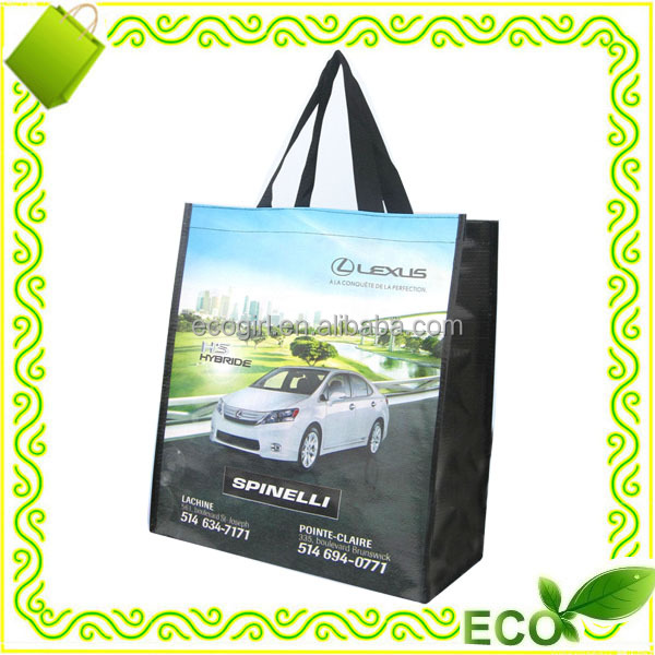 customized OEM logo photo printing grocery tote carry away promotional eco shopper pp woven bags