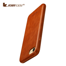 Jisoncase real leather handmade case phone cover genuine cow leather phone cover for iPhone 7