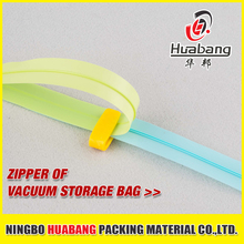 cheap colorful plastic zip PE large vacuum bag zipper