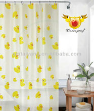 yellow duck printed polyester fabric bathroom water-proof shower curtains