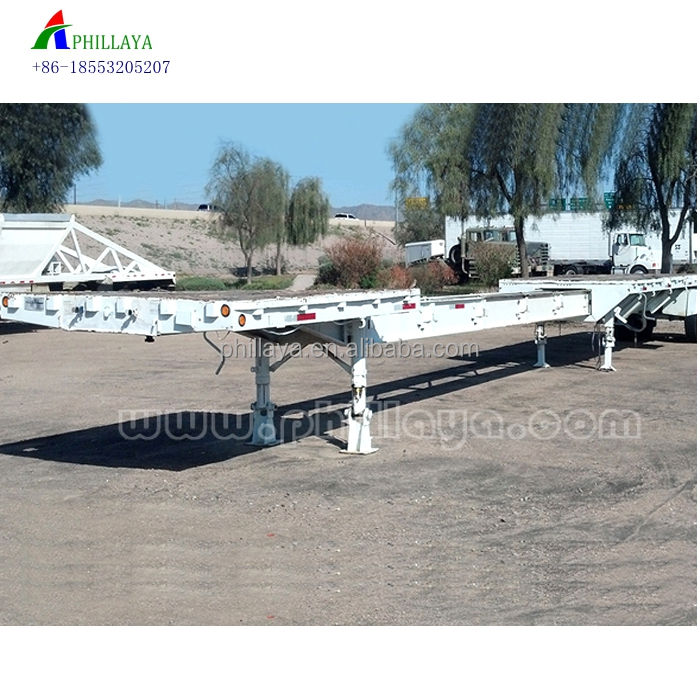 2018 offer 3 axles 60ton 4 axles 80ton wind-blade beam grid extendable expandable chassis low flatbed truck semi trailers