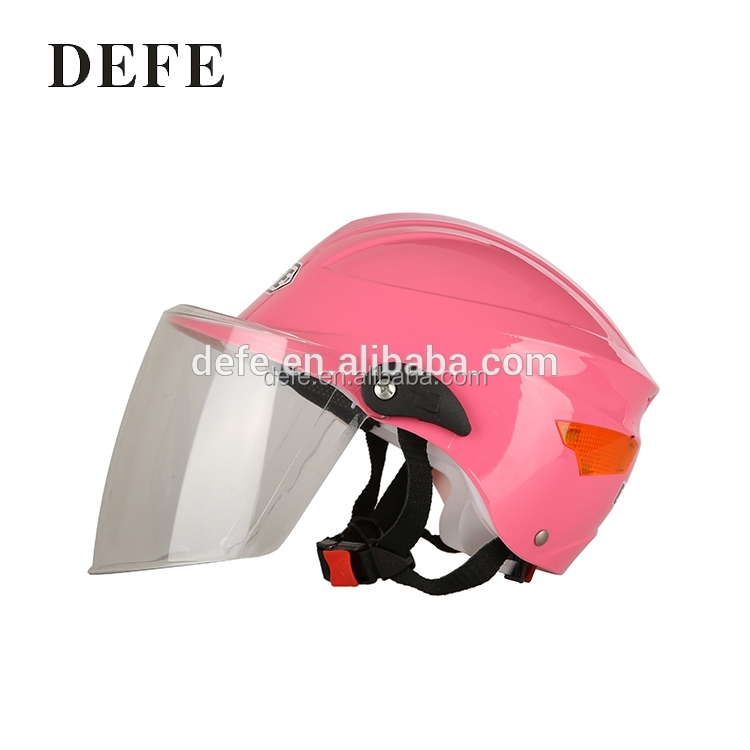 Custom average size half face pink motorbike helmet with emblem mark