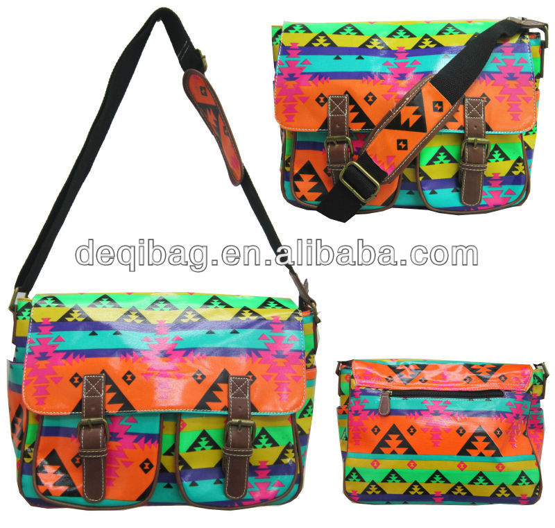 LADIES OILCLOTH MULTICOLOR CROSS BODY SATCHEL SHOULDER GIRLS SCHOOL TRAVEL BAG