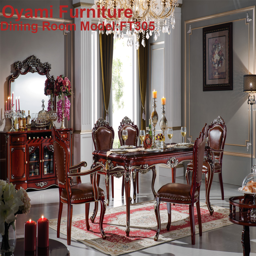 Super quality classic modern italian antique wooden dining for Italian dining room sets