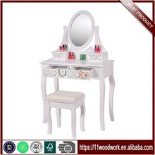 Wood Carving Cheap Girls Modern Dressing Table With Stool