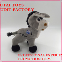 Soft plush donkey toy SEDEX,ICTI,,BSCI,WCA,SA8000 audit factory promotion manufacturer stuffed donkey with Greece flag