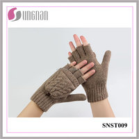 2015 Warm Ladies Twist Clamshell Dual-use Gloves Wool Half Finger Gloves