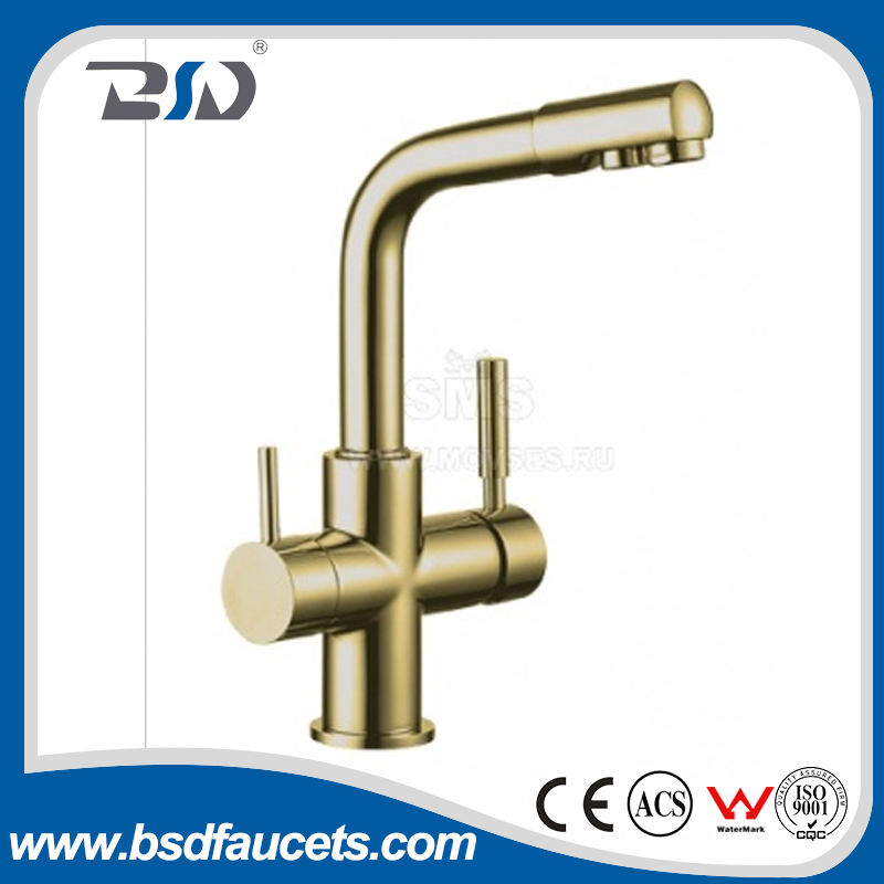 Watermark Approval Casting Lead Free Brass Two Spouts Two Handles 3 Ways Drinking Water filter Water Faucets