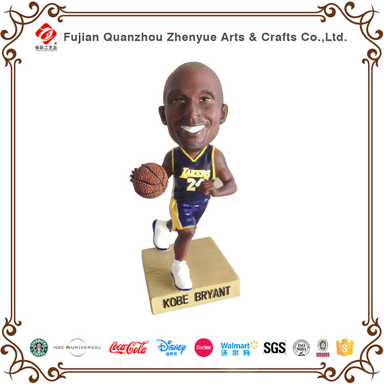 Custom resin crafts bobble heads famous 3D Kobe basketball player bobble head