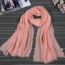 Fashion women muslim scarf solid color pearl hijab