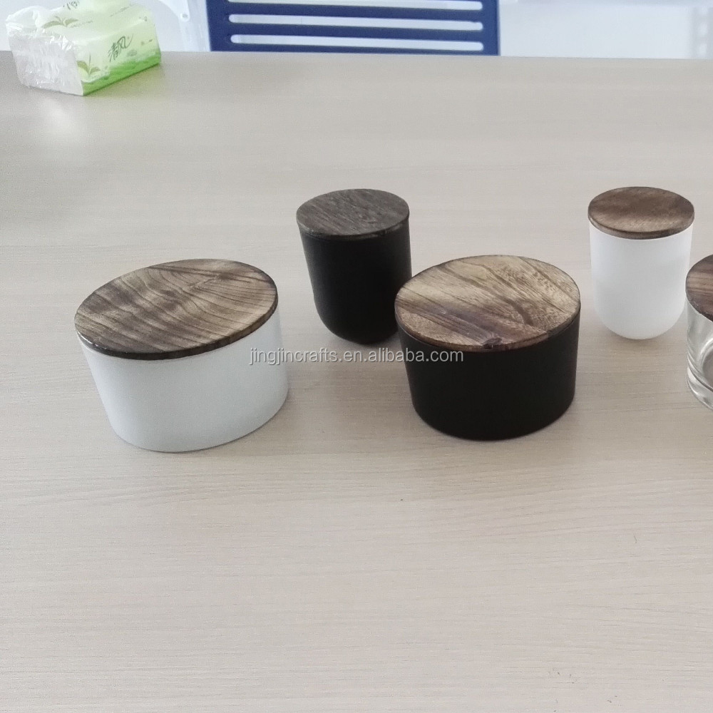 2015 hot sale matte black ,white glass candle jar with bamboo lid,wooden lid/glass candle jar with wooden base and stone lid