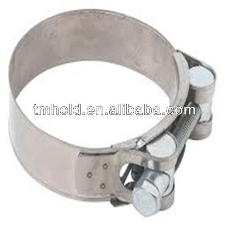 Zinc color plated T-bolt pipe clip,bolt and nut hose clamp with worm drive