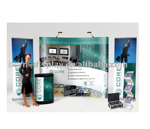 Fast Display Exhibition Advertisng Background ABS Two Light Aluminum Round Poles 3*3 Magnetic Levitation Display