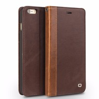 QIALINO Genuine Leather Case For Cell Phone Accessories For iPhone 6 wallet money pocket card slot
