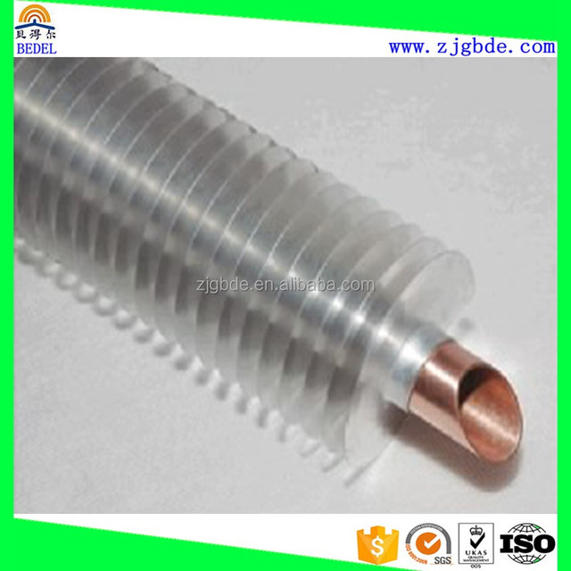 Copper or Copper Nickel Spiral Finned/Fin Tube Used In Air Cooler / Refrigeration Condenser / Evaporator