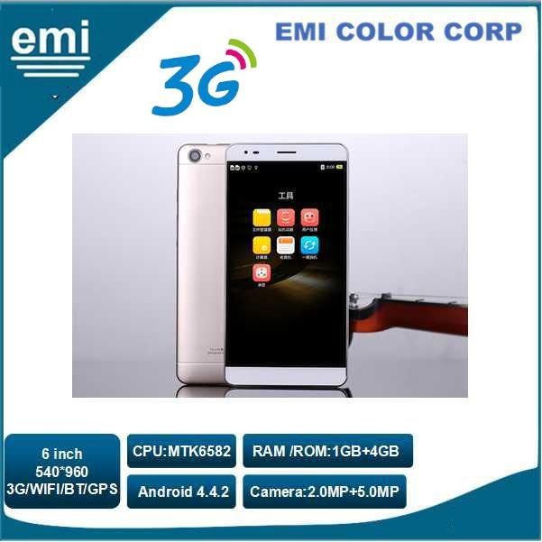 6.0 inch Big Screen 540 x 960 Pixels Mobile Phone, Support Dual SIM Dual Standby,WIFI,GPS,BLUETOOTH,WCDMA 3G Smart Phone