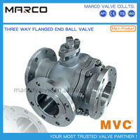 high performance flanged end carbon steel and stainless steel material T type 3 three way ball valve