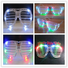 LED flashing luminous/fluorescent colorful shutter party glasses in transparent frame