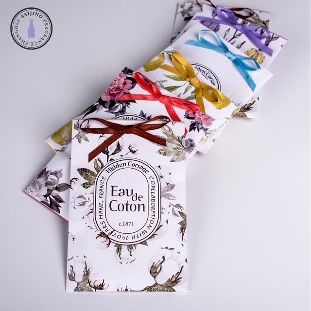 Ribbon scented sachet fragrance oil paper sachet bag with hanging hook