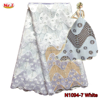 African Dress White Lace Fabric Embroidery With Pearls N1094