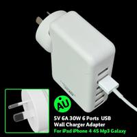 New Product 30W 6A Family-Sized Desktop 6 Port USB Wall Charger For IPAD, iPhone, Samsung Galaxy, HTC with PowerIQ Technology