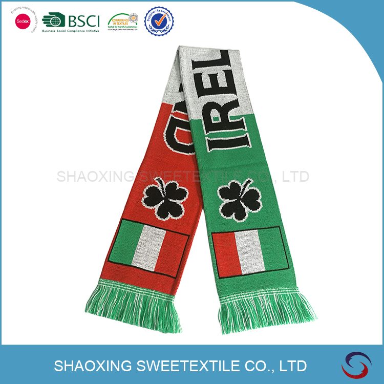 cheap polyester printed soccer Scarf for football fans forpromotion and gift