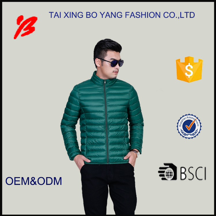 china manufacturer bo yang high quality 100% nylon ultra thin foldable winters duck down jacket for men oem