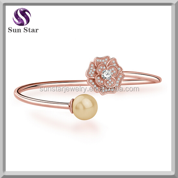 Factory price 925 sterling silver flower rose gold wire bangle bracelets