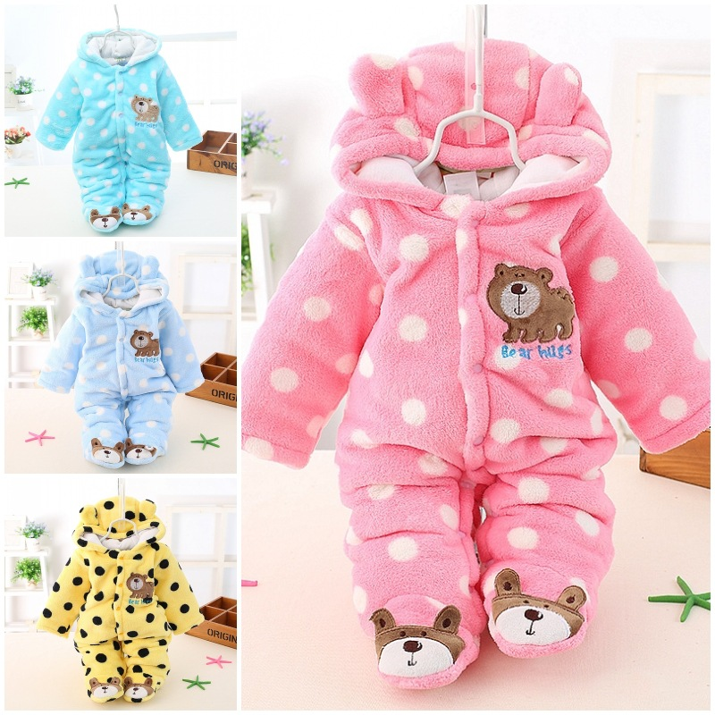 Free Shipping Long Sleeve Boys Jumpsuit Winter Baby Romper Warm Baby Clothes