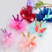 New design shiny kids lovely hair clip chiffon bow with beads crown children hair accessories baby ribbon hair clip PHC-0413