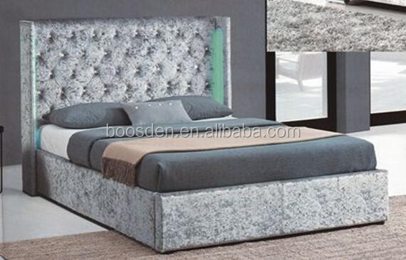 modern upholstery bed design hand tufted diamond studded LED light soft bed BSD-450259