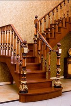 Fancy carved solid wood staircase design