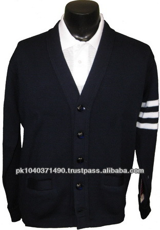 Dark Black Color Varsity Letterman Cardigans Sweater
